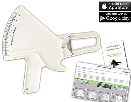 Slim Guide Caliper Medidor de grasa + estampado, alemán Handbuch + Excel Berechnungstool de grasa