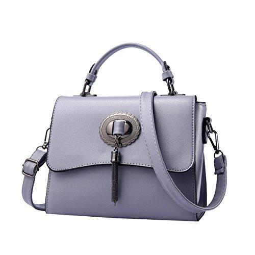 Yy.f Nuevos Bolsos De Mano Dama De La Moda Bolsa De Marea Hombro Mensajero De Mano Bolso Sólido Multicolor Grey