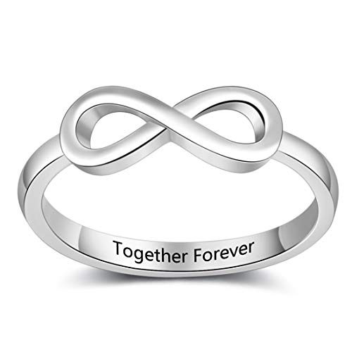 Fortheday Free Engraving Infinity Knot BFF Friendship Rings for Women Personalized Sisters Best Friends Rings Engagement Wedding Bands Promise Name Rings (7)