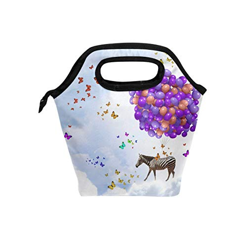 Insulated Neoprene Large Lunch Bag Tote - Washable Reusable Thermal Lunch Tote/Lunch Box/Bag Handbag For Women,Men,Kids,Adults For School Work Office, Funny Animal Zebra Butterfly