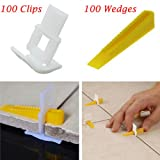 WHOSEE 200 Tiles Leveler Spacers Lippage Tile 100Clips + 100 Wedges Leveling System DIY