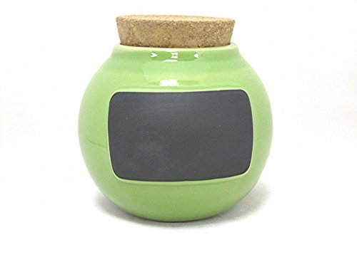 Green Chalk Board Personalize Stoneware Clay Word Jar by Muddy Waters ()