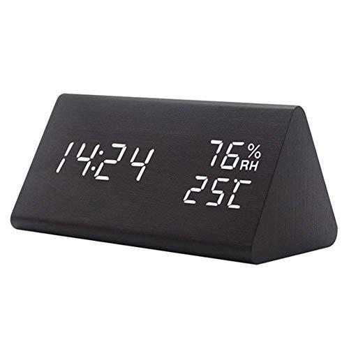 Reloj de alarma de madera alarma LED digital Temporizador electrónico Temperatura Humedad Pantalla 3 niveles Brillo...