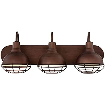 "Revel Liberty 24"" 3-Light Industrial Vanity/Bathroom Light, Brushed Bronze Finish"
