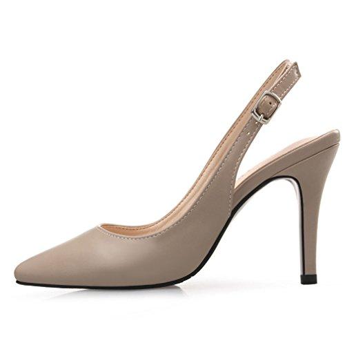 Lady Hebilla Marrón Tacón Tacón Cinturón de Sandalias de Cierre de 36 Shoes Delgado Xianshu Mujeres de Alto qwtxFx0O