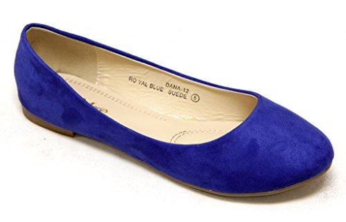 Anna Dana-12 Womens Klassieke Comfortabele Ballerina Flats Ronde Neus Suede Slip Op Koningsblauw