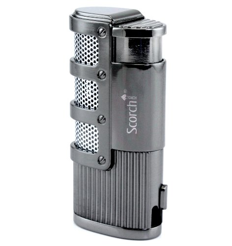 Scorch Torch Dominator Triple Jet Flame Butane Torch Cigarette Cigar Lighter w/ Punch Cutter Tool (Gunmetal) Butane Jet Torch Lighter