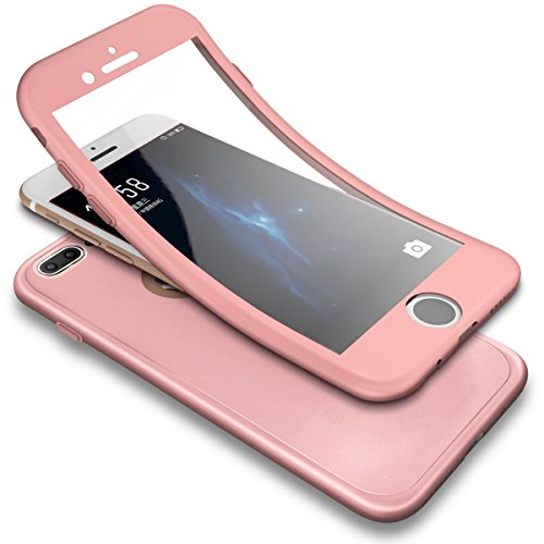 PHEZEN iPhone 7 Plus Case,iPhone 8 Plus Case, 3 in 1 Shockproof Full Body Coverage Protection Soft TPU Silicone Rubber Case with Tempered Glass Screen Protector for iPhone 7 Plus/8 Plus, Rose Gold