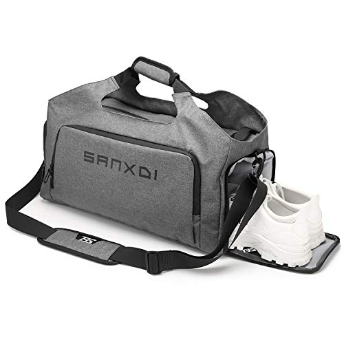 IBTXO Sports Gym Bag with Shoes Compartment and Wet Pocket, Waterproof Travel Duffle Bag for Men and Women,Yoga Training Bag Swimming Bag (grey)