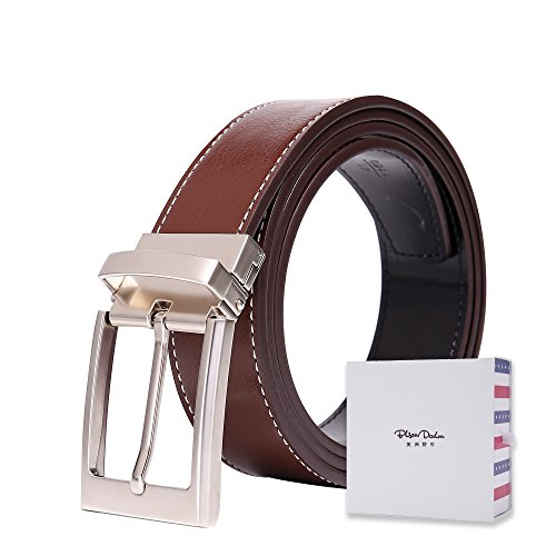 BISON DENIM Brand Reversible Alloy Pin Buckle Brown Belts Two sided Use Leather Men Belt,Brown,125(waist size:40.5'' to 43''),