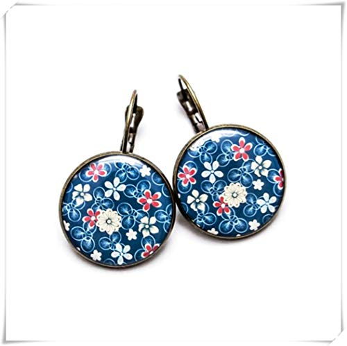 Blue Flower Leverback Earrings , Fashion Jewelry, Plant Jewelry ,Dome Glass Ornaments, Hand-Made (Flower Glass Ornament)