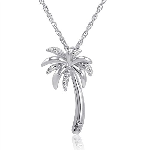 Pendant Charm Tree Palm - Amanda Rose Collection Sterling Silver Diamond Palm Tree Pendant-Necklace on an 18 inch Chain