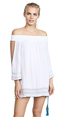 OndadeMar Women's Solid Off the Shoulder Short Dress, White, XS by OndadeMar