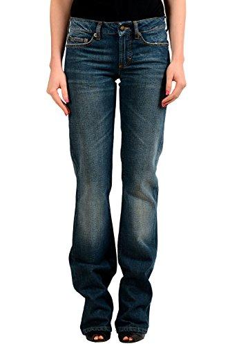 Just Cavalli Yellow Diamond Medium Wash Denim Women's Flare Jeans US 4 IT 26