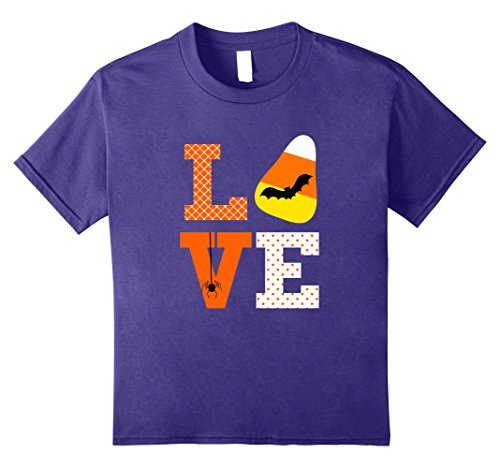Kids Love Halloween Candy Corn Shirt Bat Spider for Kids Teacher 12 Purple