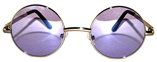 Lennon Style Round Sunglasses Purple Lens Silver Metal Frame Spring hinge
