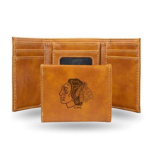 Rico Industries NHL Chicago Blackhawks Laser Engraved Tri-Fold Wallet, Brown