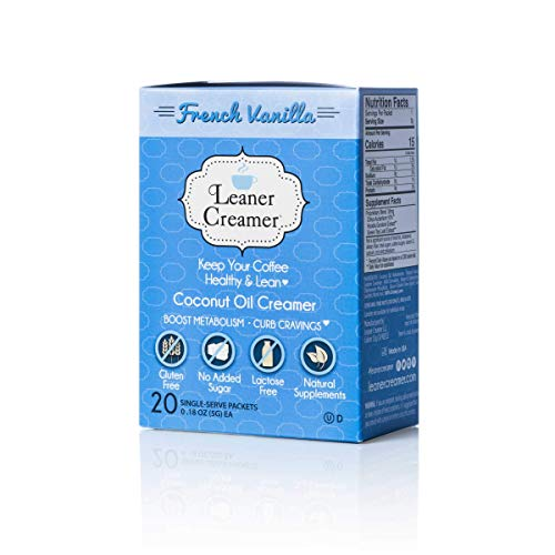 Leaner Creamer, Non-Dairy Coffee Creamer French Vanilla - Sugar Free, Unsweetened, Low Calorie, Coconut Oil, Paleo, Keto, Gluten Free, MCT Oil, Healthy Weight Loss, Fat Burning - 20 Count Singles