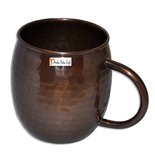 Prisha India Craft Copper Mug for Moscow Mules 550 ML / 18 oz, Pure Copper Antique Style Mug Lacquered Finish Best Quality Mule Cup, Moscow Mule Cocktail Cup, Copper Mugs, Cocktail Mugs