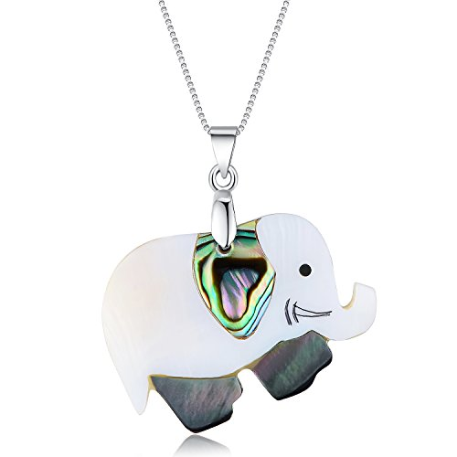 IDEAGEM Women Sterling Silver Necklace in Natural Abalone Shell Pearl of Mother Necklace for Girl Women (Elephant)