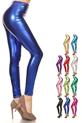 Leggings Depot Liquid Wet Look Shiny Metallic High Waist Stretch Leggings (Large, Royal Blue) (Blue Shiny)