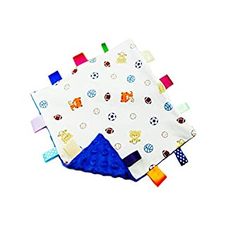 Baby Boy Blue Tag Security Blanket, Super Soft Taggie Blanket, Basketball Footaball Soccer Comforter Blanket, Security Comforter with Colorful Tags Best Gift for Child Toddler Kid-Blue