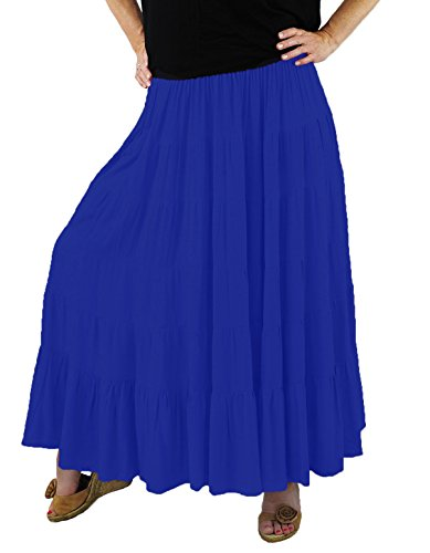 We Be Bop Womens Plus Size Solid Crinkle Rayon Tiered Skirt 0 X 1X 2 X 3X 4 X 5X 6X (3XWaist 38-68/Hip 72/Length 36, Periwinkle Blue) (Solid Crinkle Skirt)