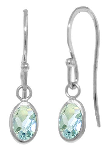 14k White Gold Fish Hook Earrings with Natural Aquamarines
