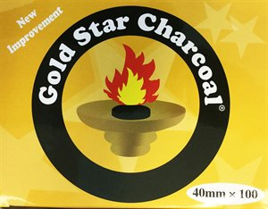 AUTHENTIC- Gold Star 40 Mm Shisha Hookah Incense Charcoal 10 Roll 100 pieces by Gold Star Charcoal