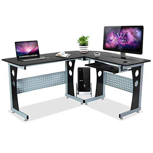 Tangkula Computer Desk L-Shape Desk Home Office Corner Computer Table with Spacious Desktops, Sliding Keyboard Tray & Additional CPU Stand Metal Frame PC Laptop Workstation Study Writing Table, Black ()