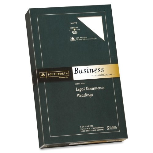 Wholesale CASE of 5 - Southworth Red Ruled Business Paper-Fine Business Paper,20 lb.,Legal Ruled,8-1/2''x14'',500/BX,WE by sou