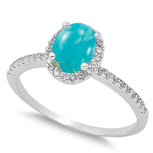 - 925 Sterling Silver Cabochon Natural Genuine Blue Copper Turquoise Oval Halo Ring Size 4