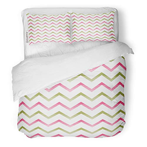Semtomn Decor Duvet Cover Set King Size Pink Abstract Chevron Pattern Watercolor Arts Crafts Baby Birthday 3 Piece Brushed Microfiber Fabric Print Bedding Set -