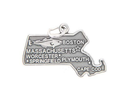 Sterling Silver Massachusetts State Charm/Pendant Jewelry Making Supply Pendant Bracelet DIY Crafting by Wholesale Charms]()