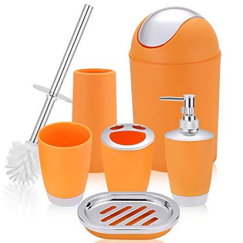 O2 Tech 6 Piece Bathroom Accessories Set,Plastic Bath Ensemble Bath Set Lotion Bottles, Toothbrush Holder, Tooth Mug…