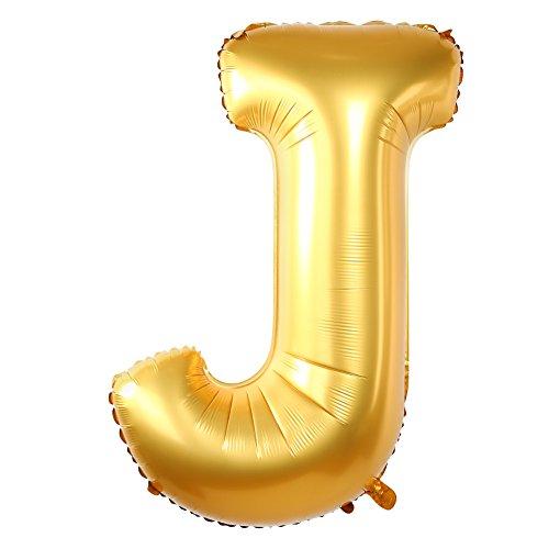 Gold  J  Alphabet Letters 40 Matt Mylar Balloons For Birthday Party Wedding Engagement Decorations