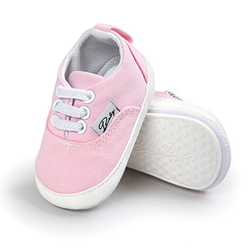 RVROVIC Baby Boys Girls Shoes Canvas Toddler Sneakers Anti-Slip Infant First Walkers 12Color (Little Girl Walking)