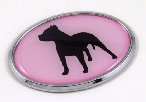 Pit Bull New Front Stand - Pit Bull Dog PINK Breeds 3D Chrome emblem Pet Decal Car Auto Bike Truck Sticker
