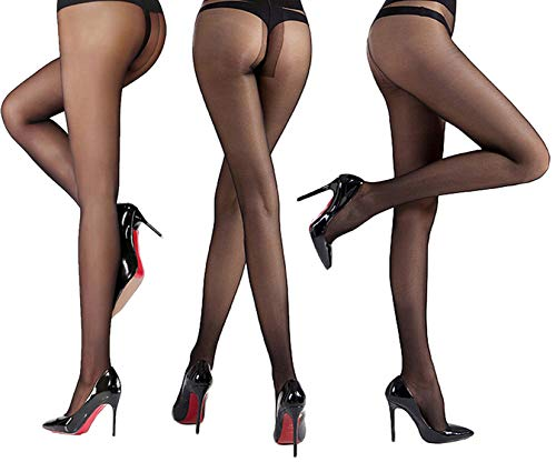 Women's 3 Pack Sheer Pantyhose Silky Reinforced Crotch Tights Panty Hose of MERYLURE (Small, Black)