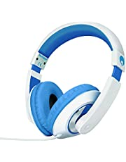 rockpapa On Ear Stereo Headphones Earphones For Adults Kids Childs Teens, Adjustable, Heavy Deep Bass For iPhone iPod iPad MacBook Surface MP3 DVD Smartphones Laptop (White/Blue)