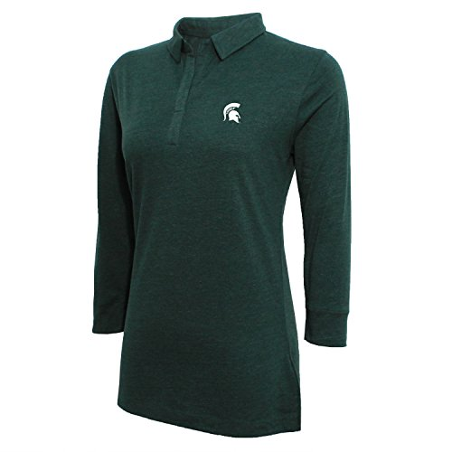 NCAA Michigan State Spartans Women's Campus Specialties 3/4 Sleeve Jersey Polo, Heather Green, X-Large