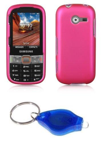 Premium Magenta Pink Hard Shield Case + ATOM LED Keychain Light for Samsung Array / Montage SPH-M390 (Samsung M390 Phone Case)