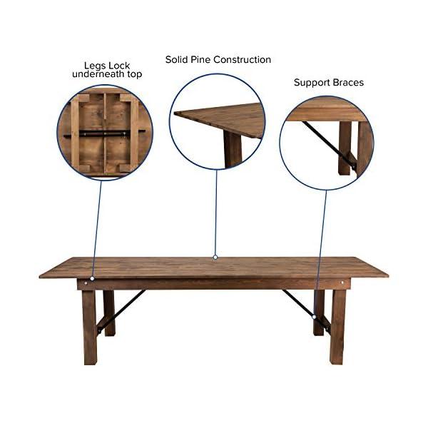"Flash Furniture HERCULES Series 9' x 40"" Rectangular Antique Rustic Solid Pine Folding Farm Table"