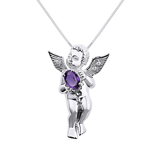 - Rylos Diamond & Amethyst Pendant Necklace Set in 14K White Gold with 18