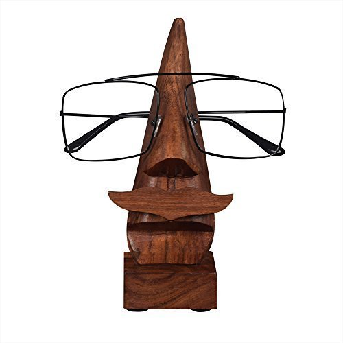 Store Indya Eyeglass Spectacle Holder Stand Wooden Nose Shaped Handmade Home - Sunglasses India
