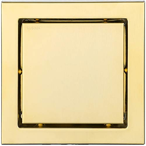 RANDOM 6-inch SUS304 Stainless Steel Square Shower Floor Drain with Tile Insert Grate Removable Multipurpose Invisible Look or Flat Cover,Brushed Stainless. (Brushed Gold) ()