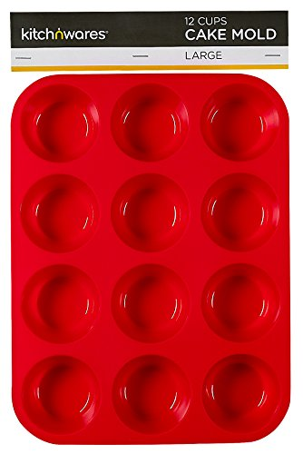 Large Silicone Muffin & Cupcake Pan - Non-Stick, BPA-free Food Grade Mold / Baking Tray - Heat Resistant up to 450° - Dishwasher & Microwave Safe, Bakeware, Easy to Clean (Red) - By Kitch N' Wares