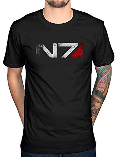 Official Mass Effect N7 Logo T-Shirt Black for sale  Delivered anywhere in USA