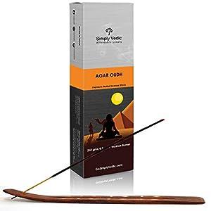 Simply Vedic Agar Oudh Premium Incense Stick Agarbatti 250 Grams / 8.8 Oz (Approx 135 Sticks) with Burner for Meditation, Yoga, Spiritual Healing, Prayers, Reiki, Aromatherapy Energy Cleansing. 116