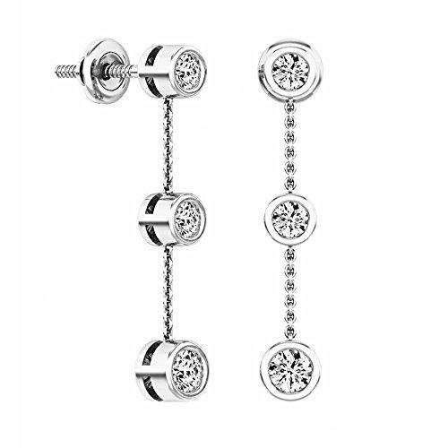 Dangle Diamond Fancy (0.50 Carat (ctw) 14K White Gold Round White Diamond Ladies Three Stone Drop Earrings 1/2 CT)